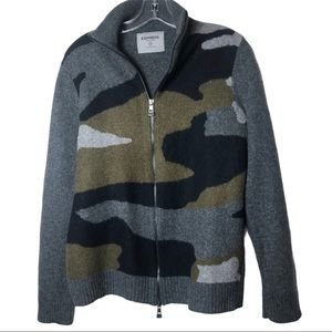 Express Gray & Camouflaged Wool Jacket